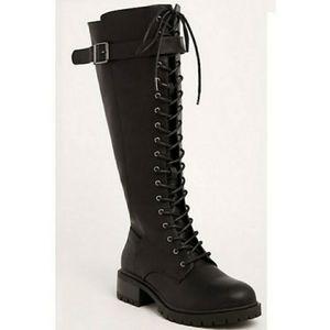 Torrid Black Lace Up Combat Knee High Boots